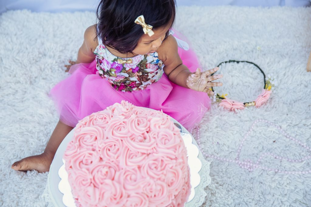 1st Birthday and Cake smash photoshoot with DIY Birthday Dress and Flower crown