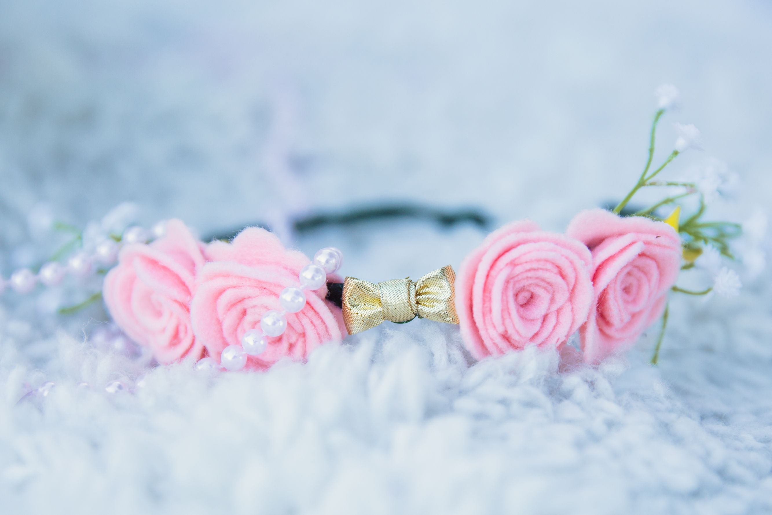 DIY pink flower crown with gold bow