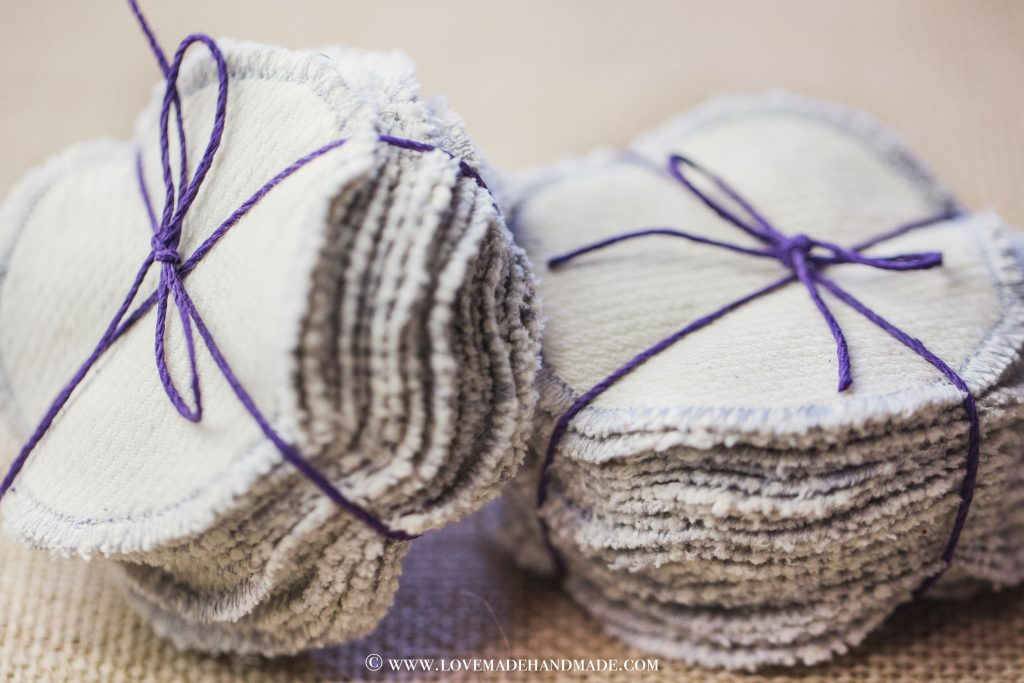 Reusable 100 % Cotton Rounds all tied up with a bow! LOVEMADE HANDMADE