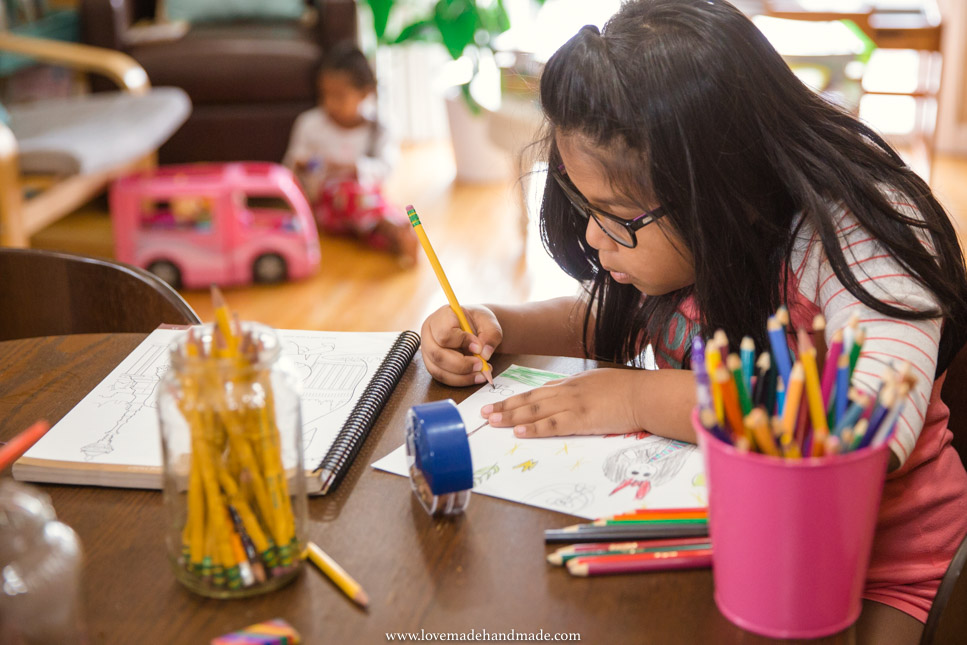 Homeschooled kids practicing Art - Lovemade Handmade